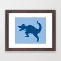 T-Rex Blue Framed Art Print