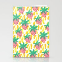 Pink Strawberries Stationery Cards