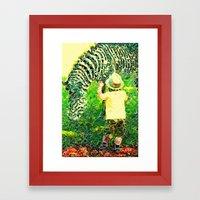 A Boy And His Zebra Framed Art Print