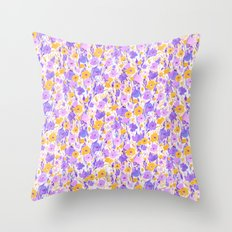 Flower Field Yellow Lilac Throw Pillow