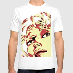 Yellow lady portrait Mens Fitted Tee White SMALL