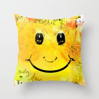 Just another smiley face Throw Pillow