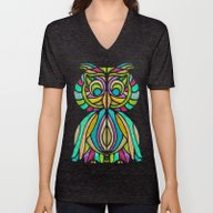 Unisex V-Neck featuring Green Owl by ArtLovePassion