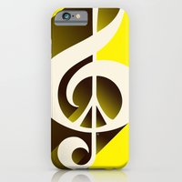 iPhone & iPod Case featuring Yellow Retro Shadow Music & Peace by Inspireuart