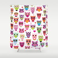 Cute colorful retro style owl illustration pattern Shower Curtain