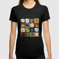 Halloween Doodles Womens Fitted Tee Tri-Black SMALL