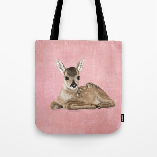 Portrait of a small fawn on a rustic pink background Tote Bag