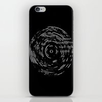 Record White on Black iPhone & iPod Skin