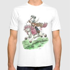 Barbarian Unicorn Mens Fitted Tee White SMALL