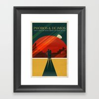 THE MOONS OF MARS - Phobos & Deimos | Space | X | Retro | Vintage | Futurism | Sci-Fi | Two Framed Art Print