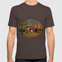 Old Farmhouse  Mens Fitted Tee Brown SMALL