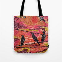 Birds on a Wire - Vintage Scrabble Tile Mosaic Tote Bag