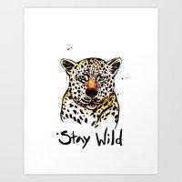 Stay Wild Leopard Illustration Art Print
