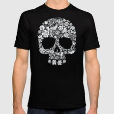 Sugar Skull flower pattern iPhone 4 4s 5 5s 5c, ipod, ipad, pillow case and tshirt SMALL Mens Fitted Tee Black