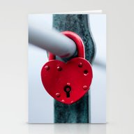 Red Heart Lock Stationery Cards