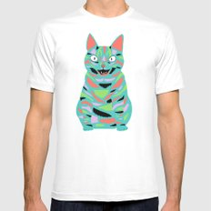 Cat White Mens Fitted Tee SMALL