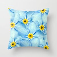 Throw Pillow featuring Forget Me Not by SalbyN