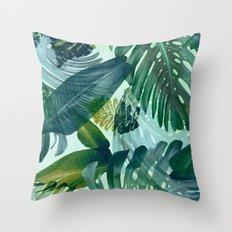 Jungles greens, banana leaf, tropical, Hawaii decor Throw Pillow