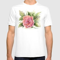 Watercolor Rose Mens Fitted Tee White SMALL