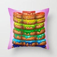 Donuts I 'Sweet Rainbow' Throw Pillow