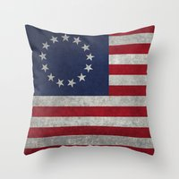 The Betsy Ross flag of the USA - Vintage Grungy version Throw Pillow