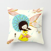 장마   Rainy Season Throw Pillow