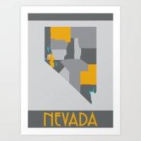 Nevada State Map Print Art Print