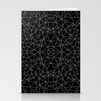 Abstract Collide Outline White on Black Stationery Cards