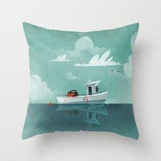 Tiny Car, Tiny Ferry Throw Pillow