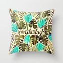 Tropical Wanderlust – Turquoise & Olive Throw Pillow