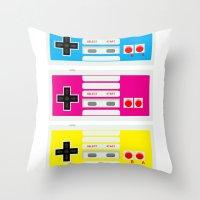 CMYK Retro Gamer  Throw Pillow