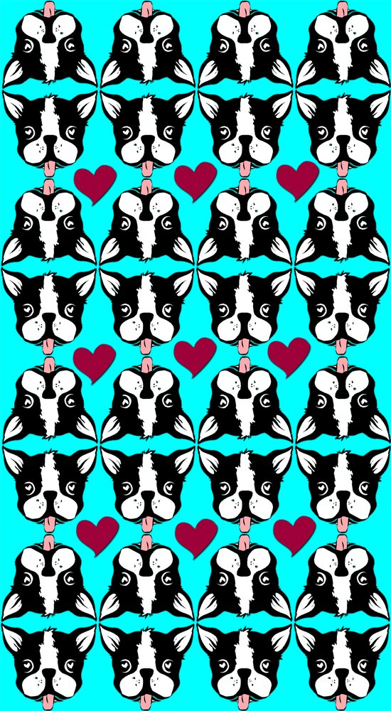 French kissing Boston Terriers Art Print