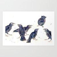 Gossip Of The Crows Art Print