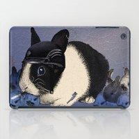 Blue Biker Bunny Print iPad Case