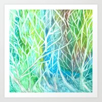 Coral View Watercolor Abstract Coral Painting Art Print
