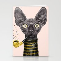 black cat Stationery Cards featuring Black Cat by dogooder