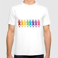 Rainbow King Bear Mens Fitted Tee White SMALL