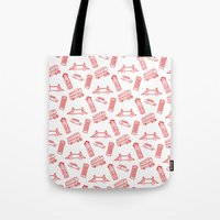 London - Red On White Tote Bag