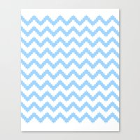funky chevron blue pattern Canvas Print