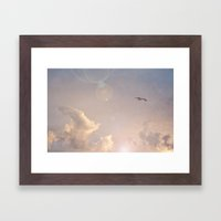 Seagull In the Clouds Framed Art Print