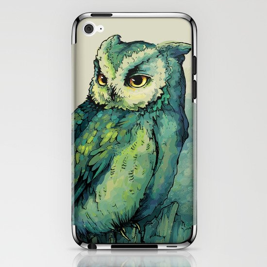 Green Owl iPhone & iPod Skin