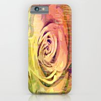 iPhone Cases featuring Vintage Painterly Autumn Rose Abstract by Judy Palkimas