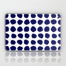 Aria - indigo brushstroke dot polka dot minimal abstract painting pattern painterly blue and white  Laptop & iPad Skin