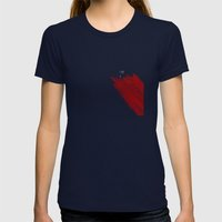 quote: find A beautiful place and get lost Womens Fitted Tee Navy SMALL