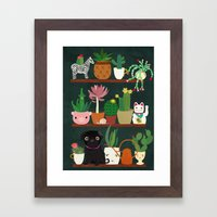 Cacti and Pug on blackboard Framed Art Print