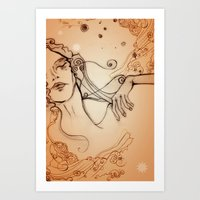 Woman In Sepia Art Print