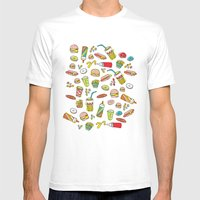 Awesome retro junk food icons Mens Fitted Tee White SMALL