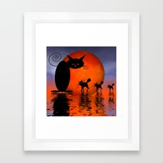 mooncat's catwalk Framed Art Print