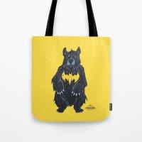 "Tote Bag featuring Bear as Bat Man - ""Bat Bear"" by Tom Ryan's Studio"