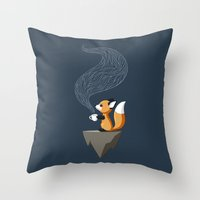 Fox Tea Throw Pillow